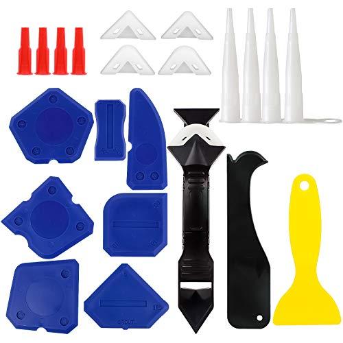 23PCS Dichtungswerkzeugsatz, WOVTE Silikonwerkzeugsatz mit Dichtmittel-Endbearbeitungswerkzeug, 3-in-1-Fugenschaber , Dichtungsentfernungsdüse und Kappen 3 Ersatzpads Mastixwerkzeuge