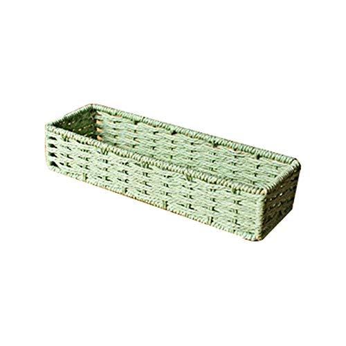 DaFei Contenedores de Almacenamiento, Caja de contenedor portátil de Tejido de Fibra de Hierba Robusta Liviana Grande Liviana con asa (Color : Green)