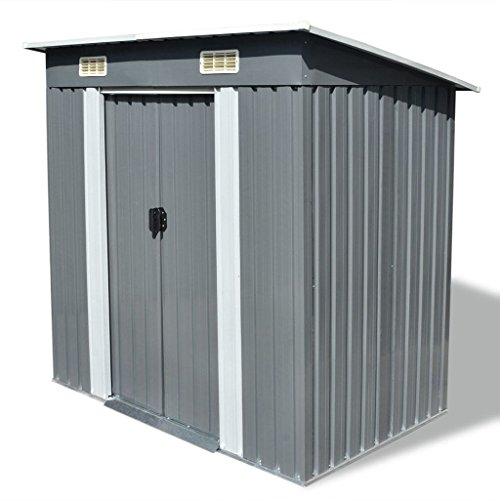Gecheer Garden Storage Shed, Outdoor Tool Cabin Room, Metal Storage Sheds with 2 Vents for Garden Tools 190 x 124 x 181cm, Grey Metal