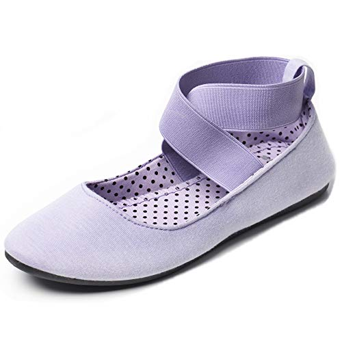 Alpine Swiss Peony Womens Ballet Flats Elastic Ankle Strap Shoes Lilac 6 M US