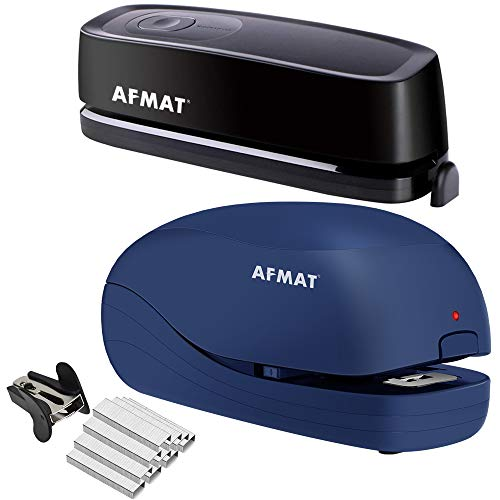 AFMAT Electric Three Hole Punch Heavy Duty, 20-Sheets Capacity, AC or Battery Operated Puncher and Heavy Duty Electric Stapler, 2 Full Strips, 25 Sheets Capacity, AC or Battery Powered Stapler
