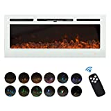 FULLWATT 50' Electric Fireplace in Recessed and Wall Mounted Fireplace with Remote Control Touch Screen Adjustable 12 Flame Colors, 750/1500W Heater (White)