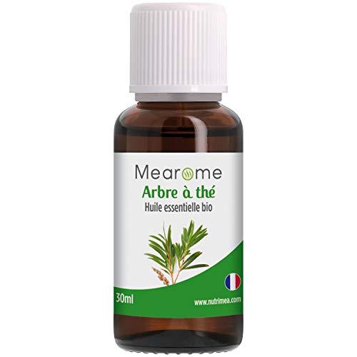 Huile essentielle TEA TREE BIO (Arbre à thé) - Aromathérapie Diffuseur, Peau saine, Acné, Voies respiratoires - 30 ml - 100% Pure et Naturelle, HEBBD, HECT - Distillée en France - Mearome