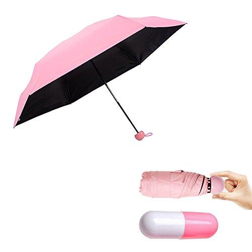 Regenschirm Taschenschirm Schirm-Tasche & Reise-Etui - Auf-Zu-Automatik, klein, leicht & kompakt, Teflon-Beschichtung, windsicher, stabil (Rosa)