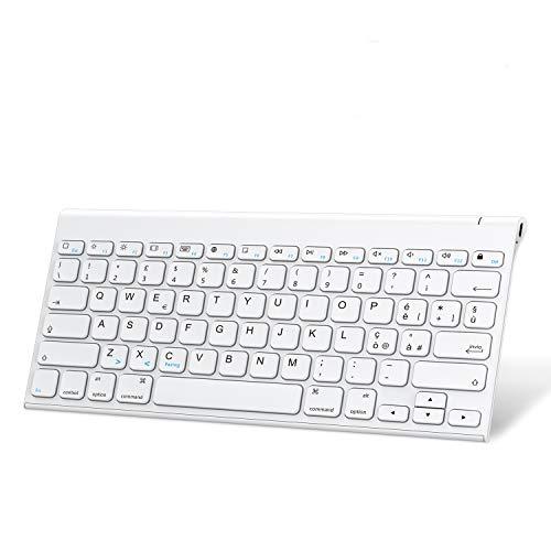 OMOTON Tastiera Bluetooth per iPad e Mac OS, Ricaricabile Compatibile con MacBook, iPad 10.2 2019/2020 Air 10.9 4 3 2/ PRO 9.7 10.5 11 12.9 e iPhone, Layout Italiano, Sottile e Portatile, Bianca