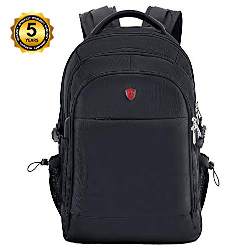 Swiss Alpen - Combin Backpack - Water Resistant Durable 1680D Large Laptop Backpack for Travel, School & Business - Fits 15.6' Laptop with USB Charging Port - Black Exclusive