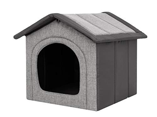Hobbydog Hundehaus,Hundehöhle,Hundehütte, Stoff-INARI, Größe R2, Tierhaus,44cmx38cm, Abnehmbarer Dach, (Hellgrau mit Schwarz)