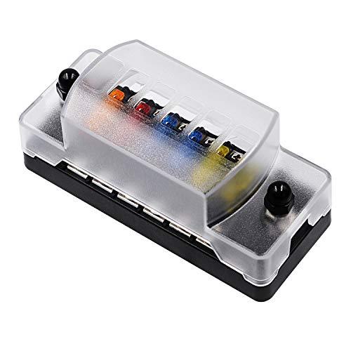 Caja de fusibles 12 PCS Hoja de fusibles Six-Way Independent Positive y Negativo Caja de FUSE, Adecuado for Coche y Marine SUV