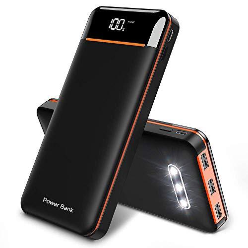 RLERON Powerbank 25000mAh Externer Akku, Hohe Kapazität Power Bank mit 3 USB-Ausgänge und 2-Eingänge, Tragbares Ladegerät für Smartphones, Tablette