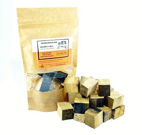 AlcoFermBrew CUBOS DE ROBLE SHERRY 100g de barriles vacíos - Sherrycube | Chips de Jerez | Copos de Roble | Sherry Flakes