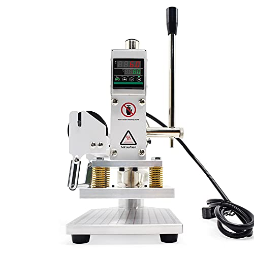 Upgraded Hot Foil Stamping Machine 10x13cm Leather Bronzing Pressure Mark Machine 110V withFull Scale onTheBasePlate for PVC Leather PU Paper Logo Embossing