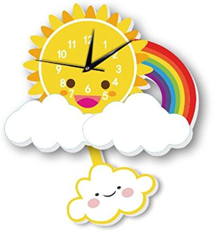Sportskindom INS Sun Rainbow Wall Clock Wall Background Cartoon Wall Bell Slient Quartz Clock (5)