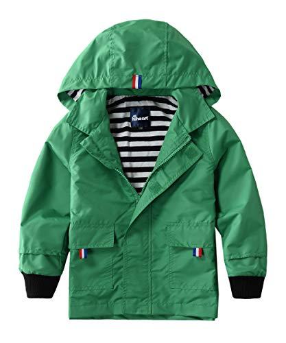 Hiheart Boys Waterproof Hooded Jackets Cotton Lined Rain Jackets Green 6/7