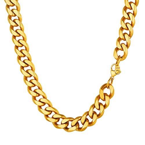 PROSTEEL Herren Collier 51cm 18k vergoldet Panzerkette Halskette Hip Hop Cuban Link Necklace 12mm breit kubanische Gliederkette Männer Jungen Modeschmuck Geburtstag