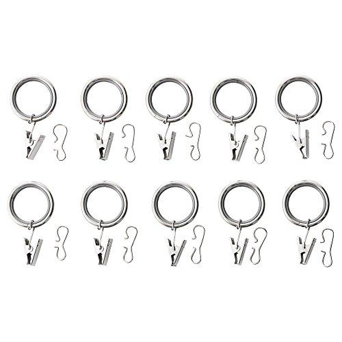IKEA SYRLIG–Vorhang Ring mit Clip und Haken vernickelt 10Stück