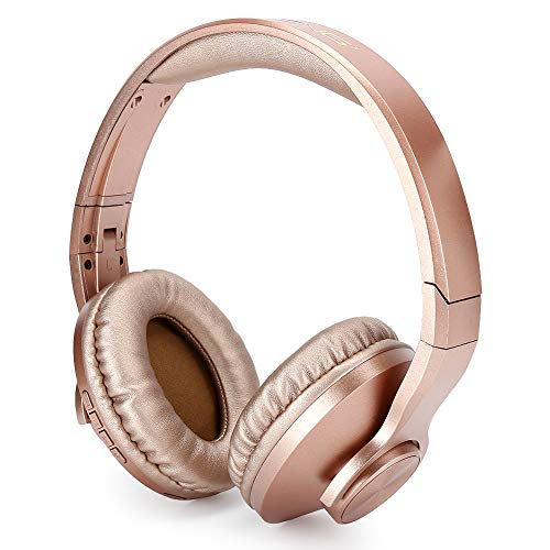 753 Gaming Headset,Wireless Bluetooth 4.2 Gaming Headset,Stereo Foldable Over Ear Headphone,Ergonomic Portable Bluetooth Headphone,6-8H Working Time,Gold