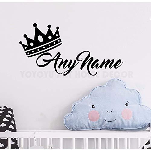 Gwgdjk Personalisierte Name Princess Crown Wandaufkleber Customade Prince Name Schlafzimmer Wandtattoo Kunst Kinderzimmer Wanddekor Wandbild