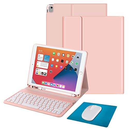 Tasnme iPad Air3 Keyboard Case Mouse/Pad 4in1 iPad 8th Gen(2020)/7th Gen(2019) iPad 10.2 Inch iPad Air3/iPad Pro 10.5 Inch iPad Magnetic Keyboard [Skin Feel(Baby-like Skin Feel) Protector Case] Pink