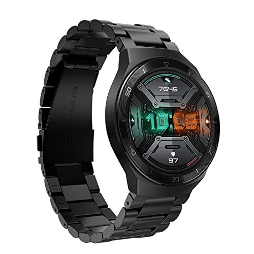 Keweni Correa para Huawei Watch GT 2e, Correa de Repuesto de Metal de liberación Rápida para Reloj Inteligente Huawei Watch GT 2e / GT/GT 2 de 46 mm (Negro)