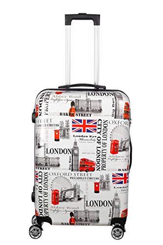 Birendy Reisekoffer Polycarbonat Hartschalen Hardcase Trolley mit Zahlenschloss Koffer Kofferset 4 Rollen einfacher Transport (A9-London, Koffer XXL 74x48cm)