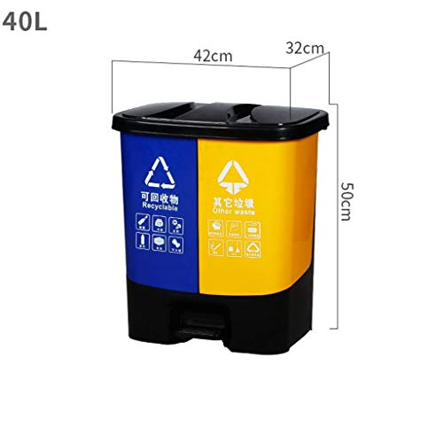 Best Review Of LXF Outdoor Waste Bins Classified Trash can Dry and Wet Separation Pedal Plastic Tras...