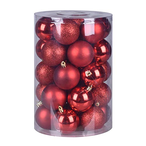 Luxury Christmas Ball Ornaments Bucket, Shatterproof Small Tree Decorations, Pendant Hanging Pack for The Home Holiday Wedding Party (Red)
