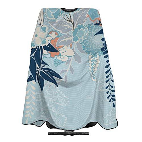 Kimono Motief Met Kraan En Bloemen Professionele Haar Snijden Salon Nylon Cape Barber Cape Waterdicht Met Snap Sluiting 55