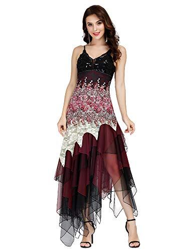 Ever-Pretty Asimetrico Vestido de Noche Corto Vestido de Fiesta Cuello en V Vestido Casual para Mujer Burdeos 50