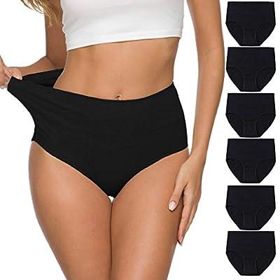 ALTHEANRAY Womens Underwear Cotton Briefs - High Waist Tummy Control Panties for Women Postpartum Underwear Soft ?1002M-BLACK ?