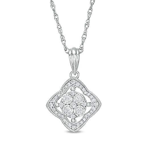 Colgante con forma de trébol de diamantes de corte redondo de 1/4 quilates, plata de ley 925 chapada en oro blanco de 10 quilates, 45,7 cm