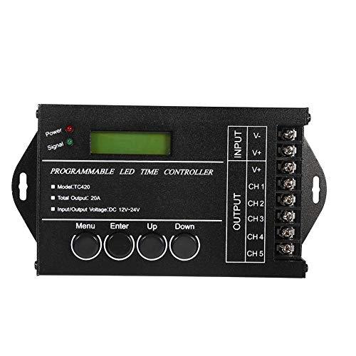 Controlador temporizador de LED programable DC12/24 V 20 A Controlador regulador multifunción de 5 canales Color regulable mediante cable USB CD