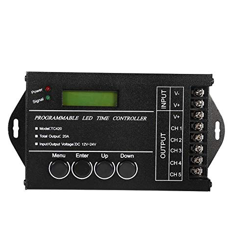 controlador temporizador de LED programable DC12/24 V 20 A controlador Regulador multifunción de 5 canales Color ajustable mediante Cable USB CD