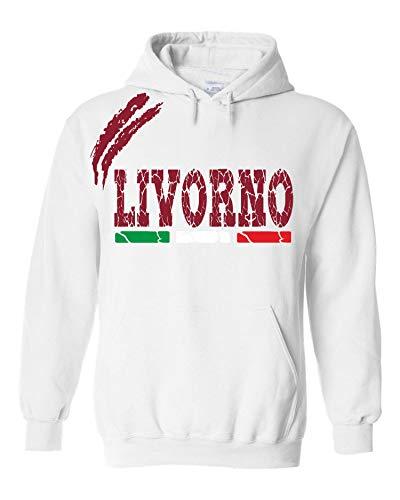 vestipassioni Felpa Livorno Cappuccio Sport Tifosi Ultras Calcio Supporter Made in Italy(XL, Bianco)