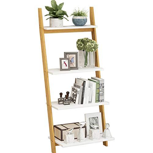 Jixi boekenkast met 4 lagen, boekenkast van hout, industriële ladder Storage Rack voor woonkamer kantoor trapezium- boekenkast plantenstandaard boekenkast (kleur: wit)