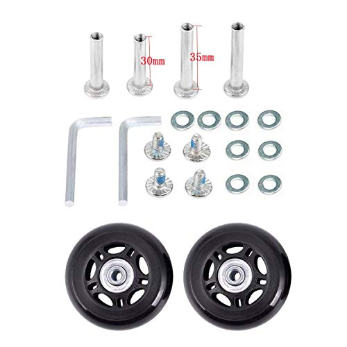 Iceyon Luggage Suitcase Wheels Replacement,Inline Outdoor Skate Replacement Wheels,Rubber Swivel Caster Wheels Bearings Repair Kits,Set of (2) Wheels (Black 60mm)