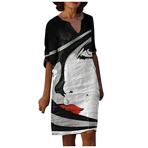 Succper Damen Kleid Sommerkleider V-Ausschnitt Freizeitkleider Leinenkleid Blusenkleid Damen Retro Style Print Shirt Baumwolle Und Leinen Lässig...