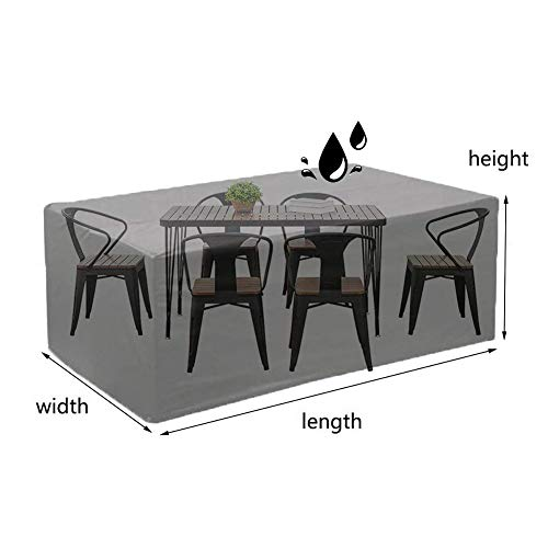 NINGWXQ Garden Furniture Cover Waterproof Dust-proof Alle Rechthoekige Oval meubelbekleding, 30 Maten (Color : Black, Size : 300X100X100cm)
