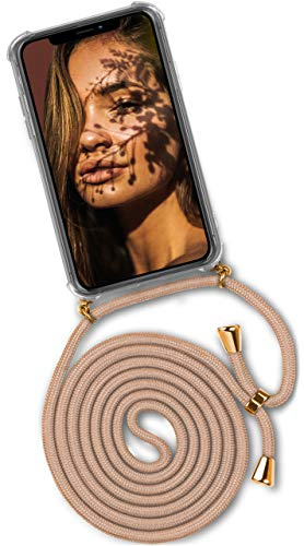 OneFlow® Handykette + Hülle passend für iPhone 11 Pro | Stylische Kordel Kette - Kristallklare Handyhülle mit Band zum Umhängen in Gold Beige