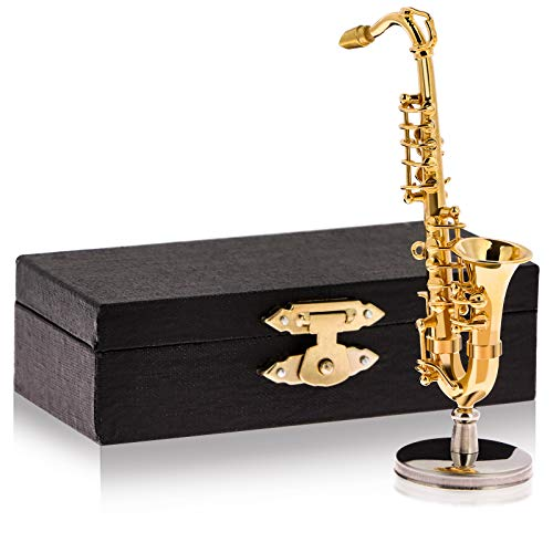 Poluka Mini Saxophone Model Copper Gilded Instrument Ornaments with Storage Case for Gift Home Desktop Decoration Dolls House Miniature Musical Instrument Model Collection,8.5cm/3.3'