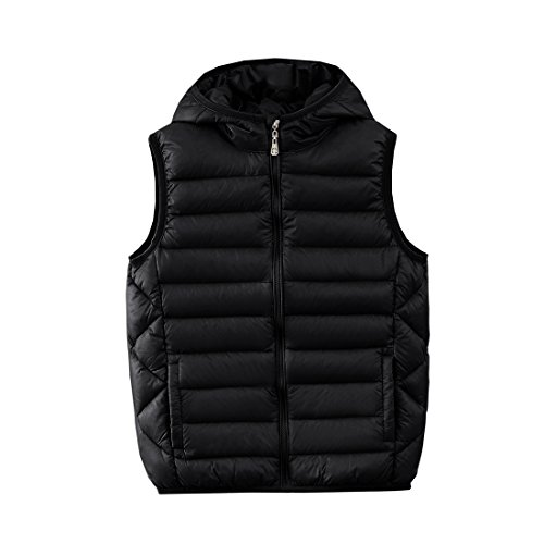 M2C Boys Front Zip Packable Hooded Down Puffer Vest 9/10 Black