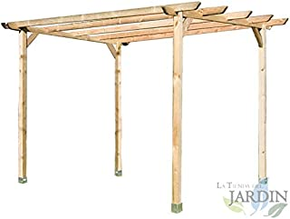 PERGOLA DE MADERA para JARDIN y PORCHE 240x240x250 cm. Presentación: 4 postes 9 x 9 x 250 cm, 2 traviesas 240 cm, 4 listones 240 cm y 4 escuadras.