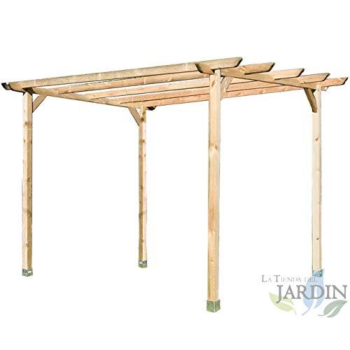 Pergola aus Holz für Garten und Tür, 240 x 240 x 250 cm. Verpackung: 4 Pfosten 9 x 9 x 250 cm, 2 Querstreben 240 cm, 4 Leisten 240 cm und 4 Winkel.