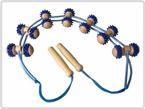 Rückenmassageroller Seilroller Massageroller Roller Massagerollband Rücken aus Holz mit Kunststoffnoppen *Top Qualität*