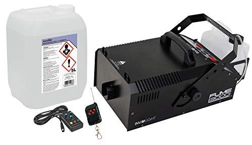 Involight Fume 3000 DMX Nebelmaschinen Feuerwehr Set (kompakte DMX Nebelmaschine mit 1700W mit Nebelschlauch- & Adapter & 5L Nebelfluid)