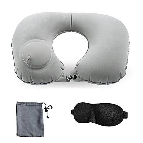 Almohada de viaje, almohada de cuello inflable, almohada de cuello totalmente ajustable para viajes en avión, coche, autobús y carril, cojín de mano, cómodo y cómodo (color: gris)