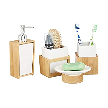 Relaxdays Juego de Accesorios de Baño Moderno, Bambú-Cerámica, Beige-Blanco, 4 Unidades