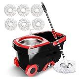 HPRM Fregona con cubo, con Wringer en ruedas, Spin Mop y Bucket Floor Cleaning System, Suministros de limpieza para el hogar Cubo de acero inoxidable