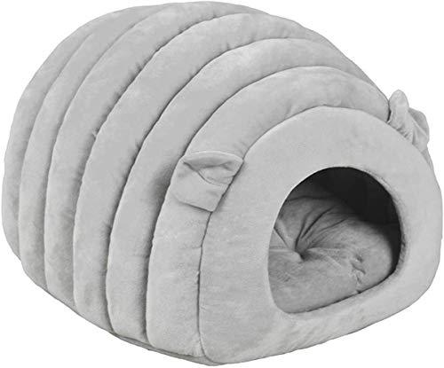 TIANYOU Cama de Gato Bolsa de Dormir de la Cueva de la Casa de Hielo Casa Cálida para Mascotas Cojín Extraíble Cama de Nido Interior Cat Puppy (Gris) Fondo Antideslizante