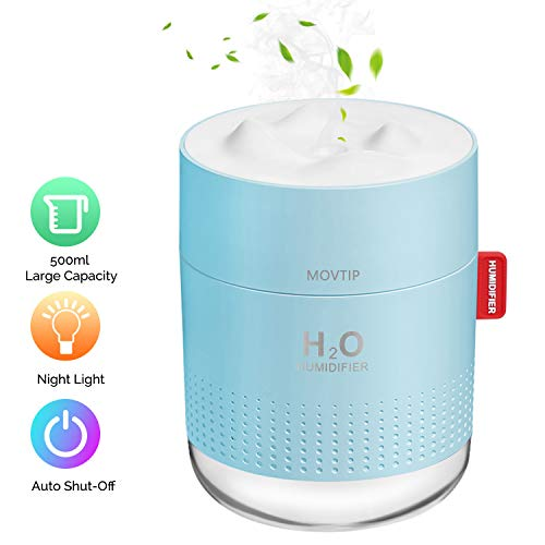 Portable Mini Humidifier, 500ml Small Cool Mist Humidifier with Night Light, USB Personal Desktop Humidifier for Baby Bedroom Travel Office Home, Auto Shut-Off, 2 Mist Modes, Super Quiet, Blue