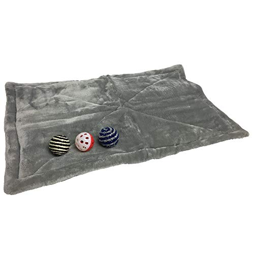 Price comparison product image Coleman Self Warming Pet Bed Mat with 3 Balls - Non Electric Anti Slip Soft Plush Dog Cat Warmer Pad,  Grey,  15x24 Inches